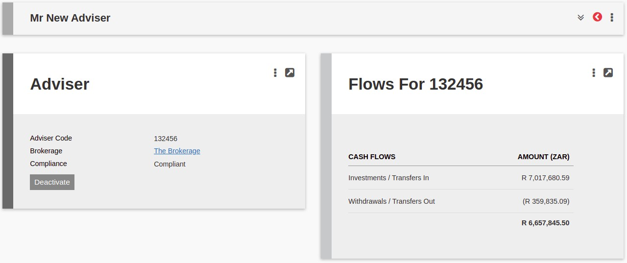Flows card on Adviser and Brokerage